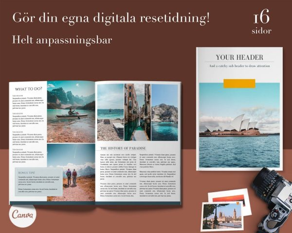 Canva mall ebok e-bok resor tidning